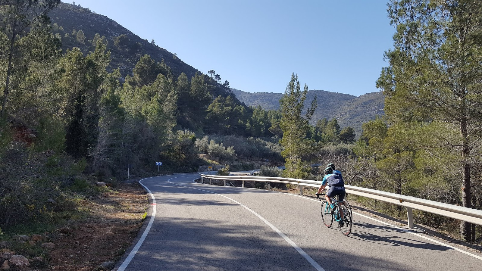 Curves on the climb of Coll de Rates from Parcent