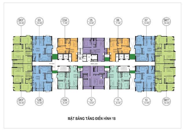 Mặt bằng thiết kế tầng 18 One 18 Ngọc Lâm