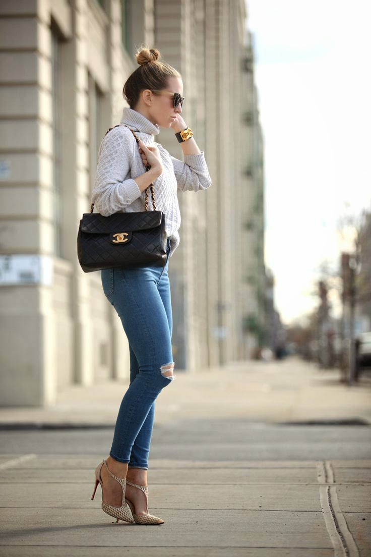 Brooklyn Blonde Distressed Denim Street Style