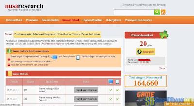 Dasbor akun situs online survey Nusaresearch | SurveiDibayar.com