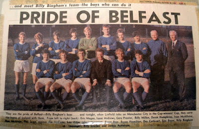 Linfield,  Manchester City, 1970, Windsor Park, Ulster Troubles, Northern Ireland