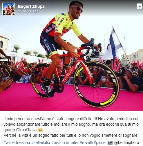 Eugert Zhupa, the Albanian cyclist in Giro D'Italia starting today from Jerusalem