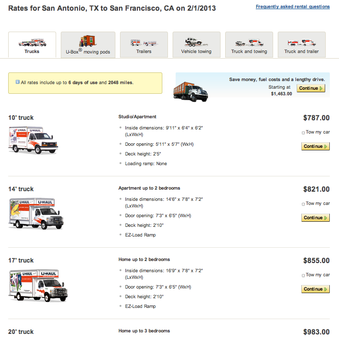 Rooftop Cargo Carrier Rental >> Prices For: U Haul Prices For Rental