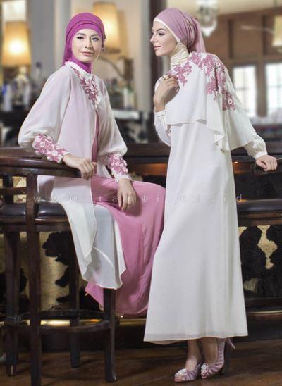 Contoh model baju gamis muslim brokat yang elegan