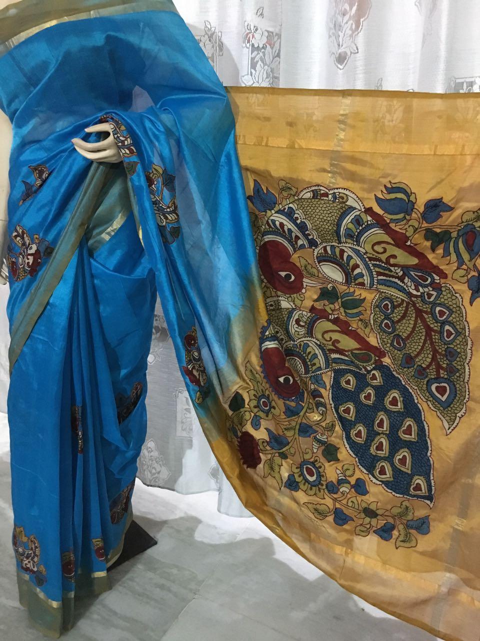 Mangalagiri Silk With Kalamkari Work Buy Online