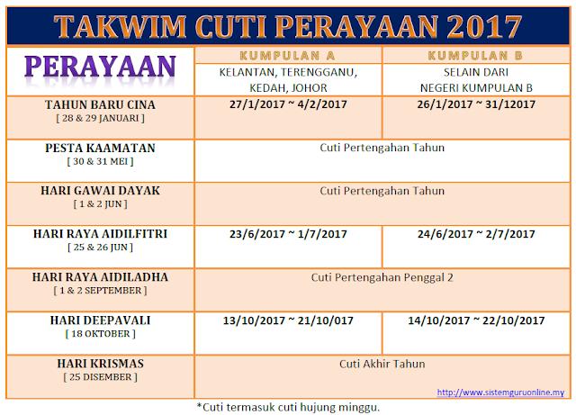 Takwim Cuti Perayaan 2017 Rasmi Disusun Terbaik & Surat Pekeliling Lengkap bagi Cuti Sekolah 2017