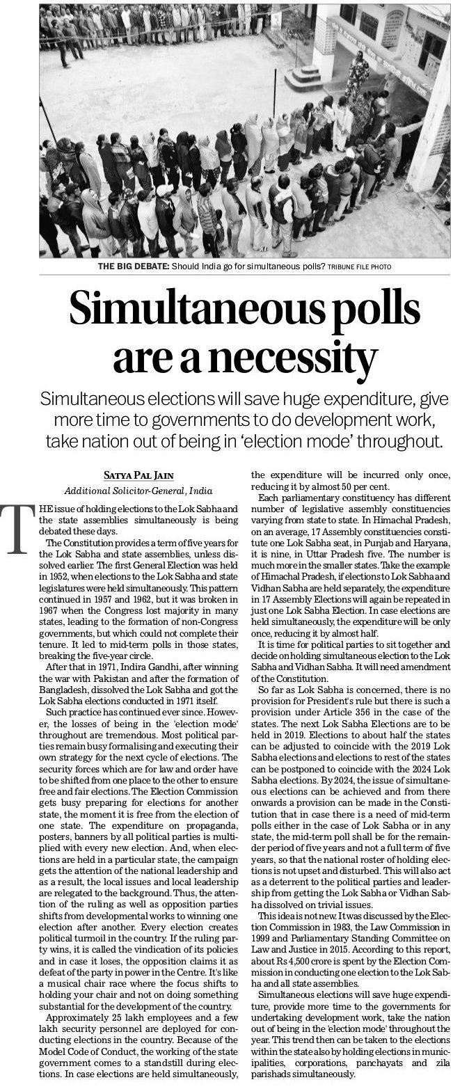 Simultaneous polls are a necessity - Satya Pal Jain | Simultaneous elections will save huge expenditure, give more time to governments to do development work, take nation out of being in 'election mode' throughout