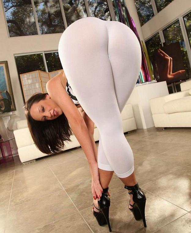 White yoga pants ass