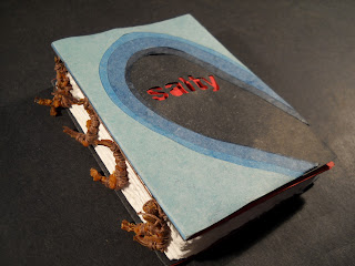 """An artist's book with a blue cover and the title """"Salty"""" in red."""