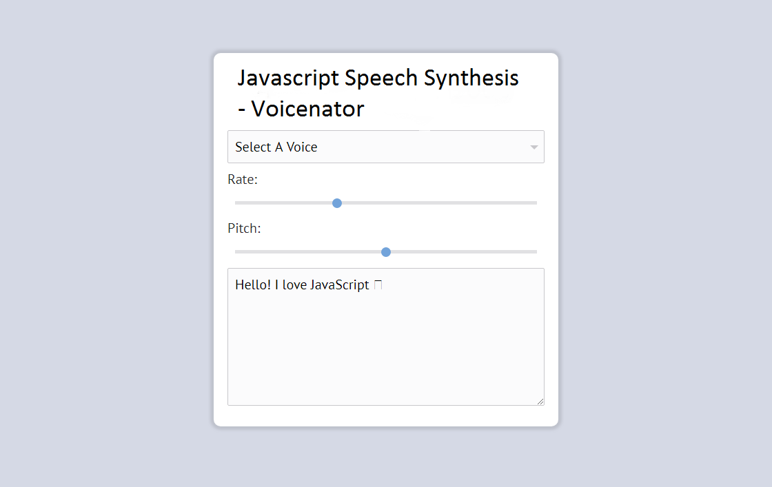 Javascript Speech Synthesis - Voicenator