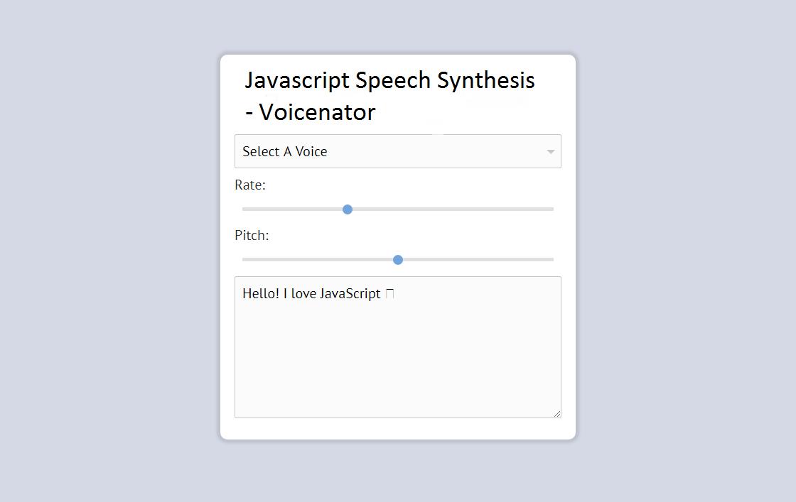 Javascript Speech Synthesis - Voicenator