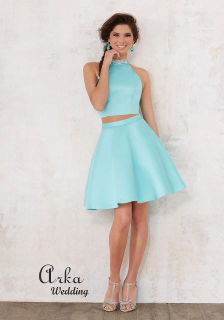 b404f853226 Βραδινό Φόρεμα, Δύο Κομμάτια Κοντό, Satin Damas, Κεντημένο Κρύσταλλα.  Κωδικός: 9442