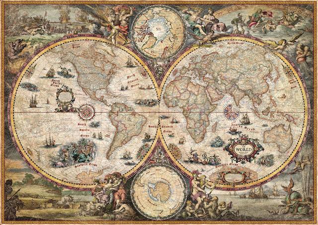 merikartta tapetti Valokuvatapetti world map