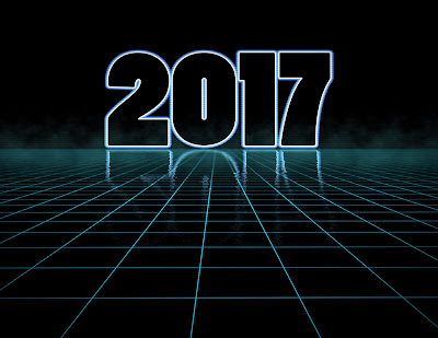 Glowing 2017 logo on a digital grid that stretches into the horizon line.