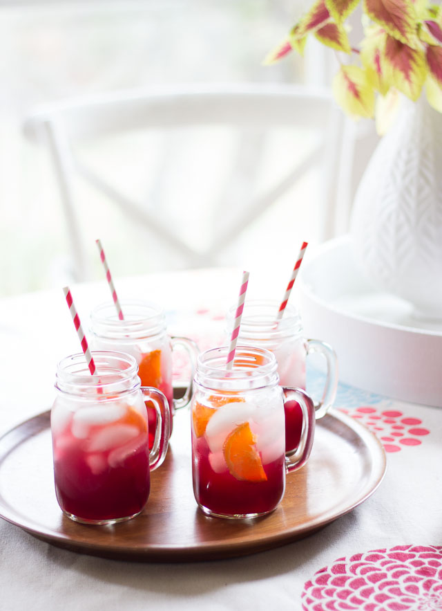 Pomegranate orange spritzers