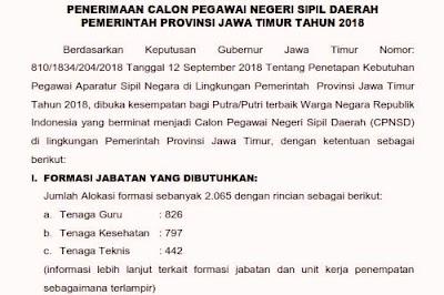 Pengumuman Formasi CPNS 2018 Jawa Timur