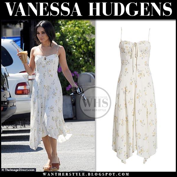 133edd19ef1ef3 Vanessa Hudgens in white floral print midi dress from wayf. Celebrity  spring summer style ideas