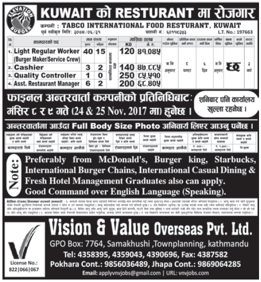 Jobs in Kuwait for Nepali, Salary Rs 85,510