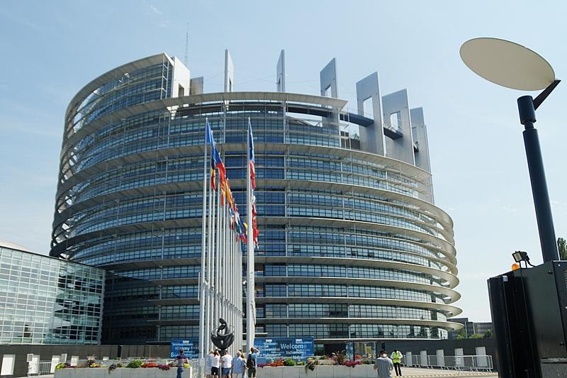 Europaparlament Architektur außen in Straßburg, Elsass, Frankreich | Tasteboykott