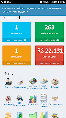 Dashboard NeXT Web ERP - Versão Mobile