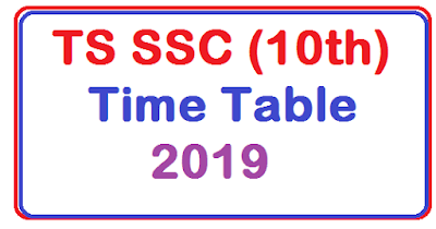 TS SSC (10th) Time Table 2019
