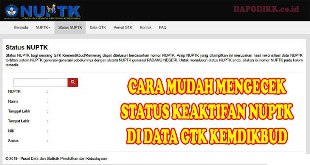 CARA MUDAH MENGECEK STATUS KEAKTIFAN NUPTK DI DATA GTK KEMDIKBUD TAHUN AJARAN 2019/ 2020
