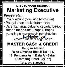 Lowongan Kerja Master Cash and Credit