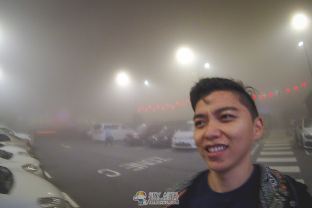 Low visibility in the misty night Genting Highland