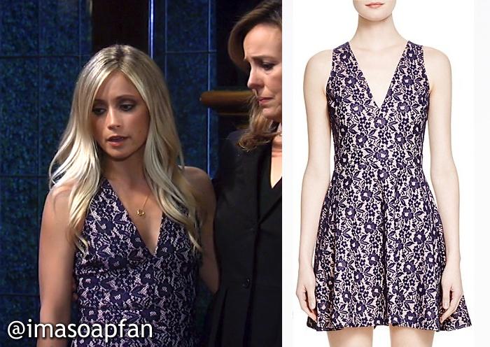 Lulu Spencer's Navy Blue Contrast Lace Dress - General Hospital