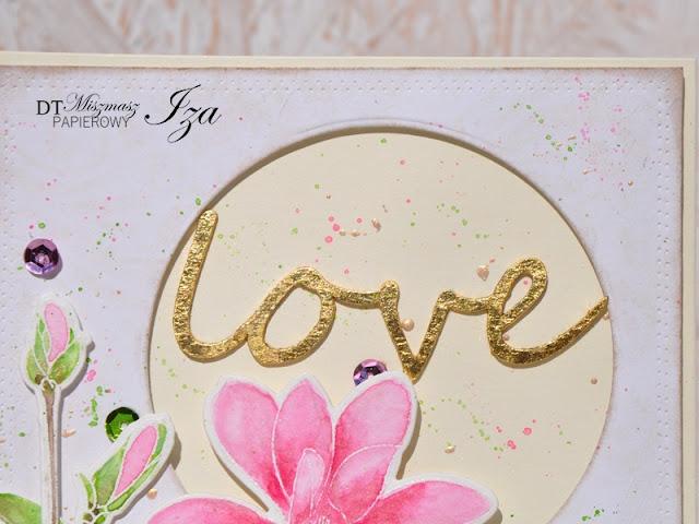 ślubna kartka ze złoceniami
