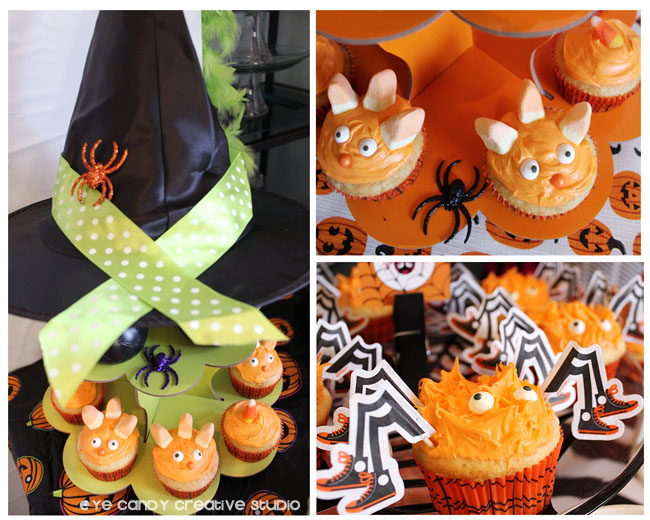 monster cupcakes, spider cupcakes, halloween cupcake ideas