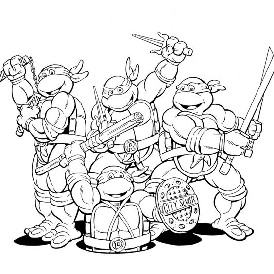 Tranh tô màu Ninja rùa 02