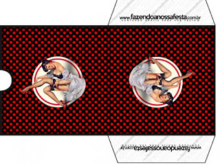 Funda para CD's para imprimir gratis de Pin Up en Negro con Lunares Rojos.