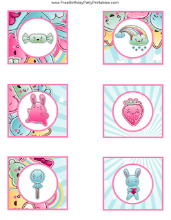 Free Kawaii Birthday Party Printables- Cupcake Toppers See The Rest of the printables for this theme!