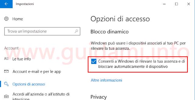 Windows 10 attivare il Blocco dinamico