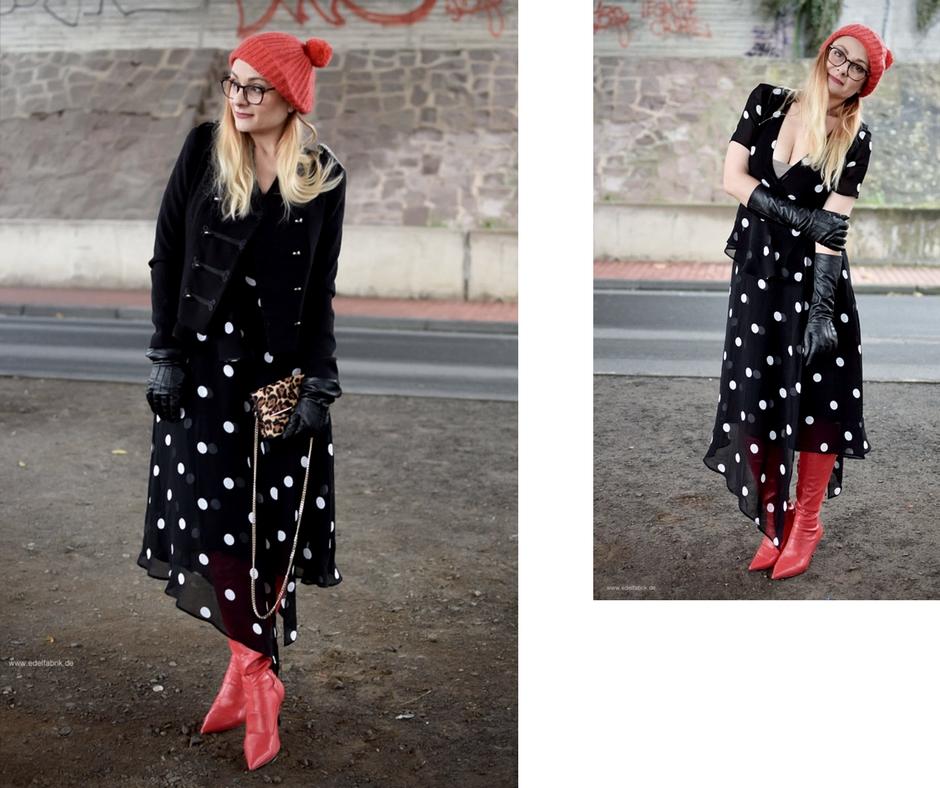 rote Leder Overknees zu Kleid in schwarz