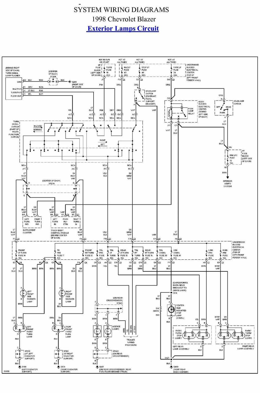 Exterior Lamp Circuit Diagram Of 1998 Chevrolet Blazer