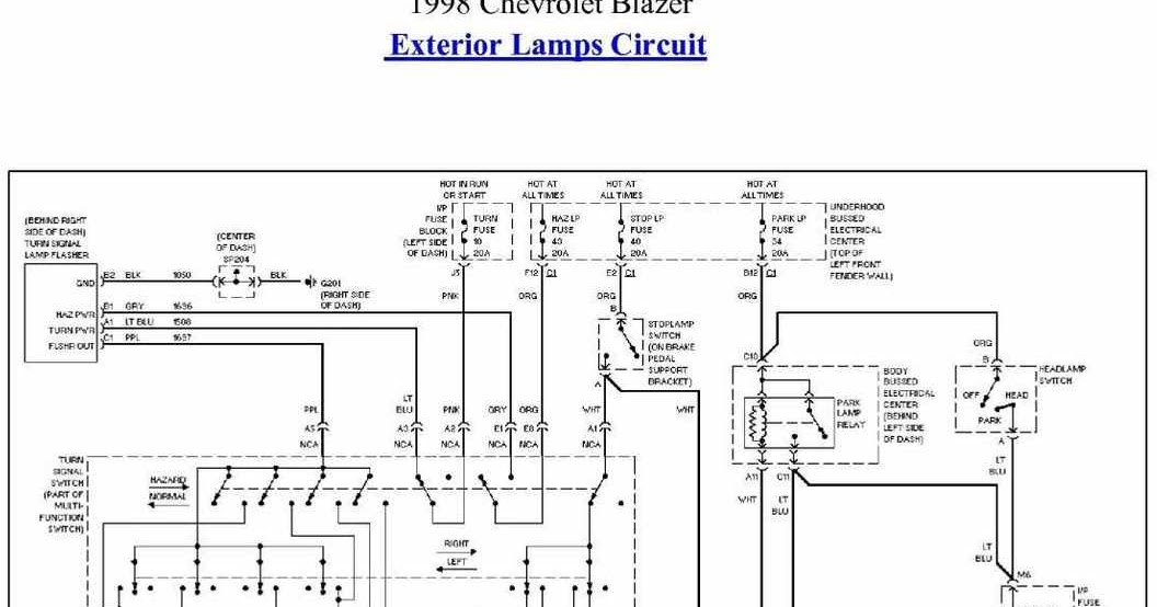 exterior lamp circuit diagram of 1998 chevrolet blazer ... 1998 chevy blazer wiring diagram