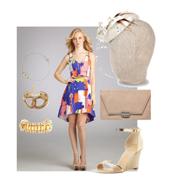 patterned derby dress and fascinator