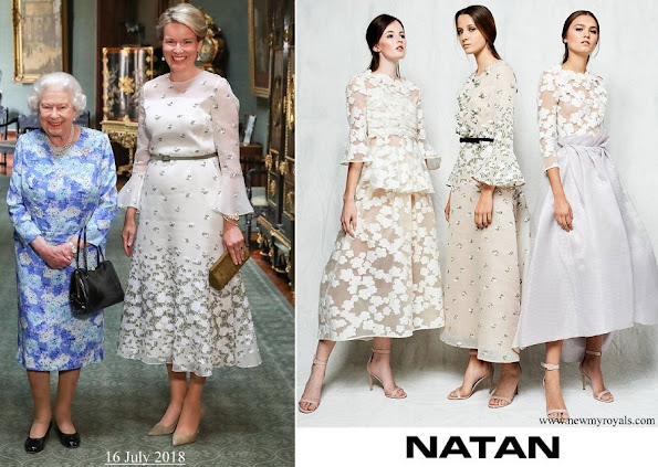 Queen Mathilde wore an embroidered tulle midi dress by Natan