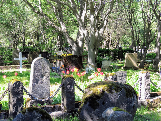 Gravestones in Hólavallagarður cemetery in Reykjavik Iceland