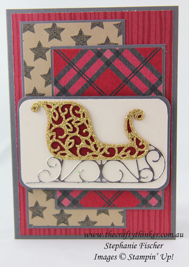 Stampin Up, #thecraftythinker, Santa's Sleigh, Xmas, Christmas card, Warmth & Cheer DSP, Stampin Up Demonstrator, Stephanie Fischer, Sydney NSW