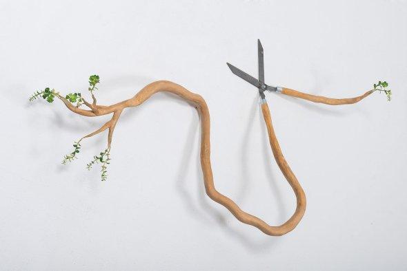 Camille Kachani arte surreal esculturas objetos de madeira com brotos galhos raízes de árvores