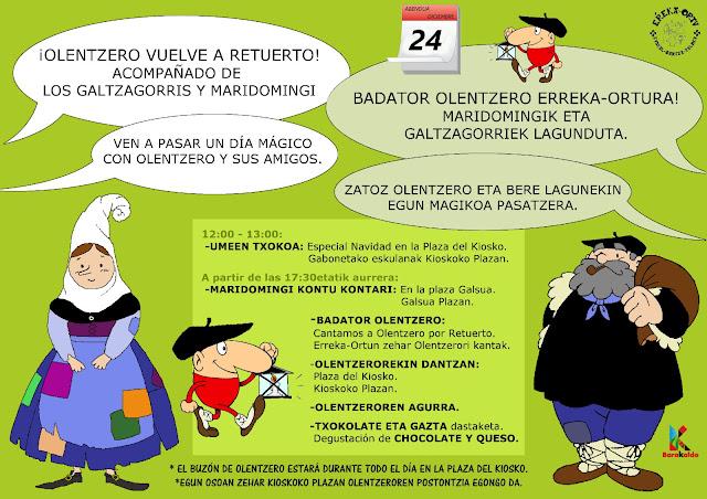 Cartel de las actividades de Olentzero en Retuerto