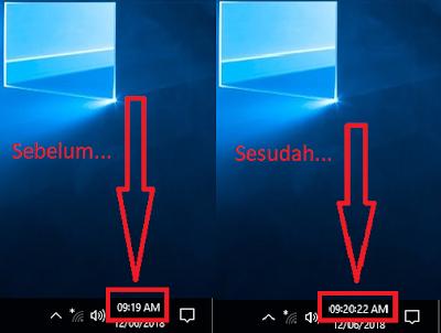 Gambar 6 - Cara Menampilkan Detik Pada Jam Taskbar Windows 10