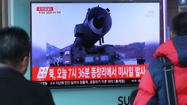 Footage of a North Korean missile launch is broadcast on television in South Korea, 6 March