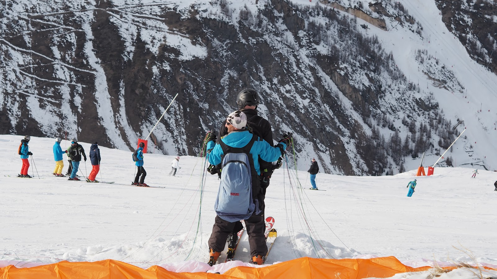 ski parachute on top of a snowy mountain in Val d'isere, France