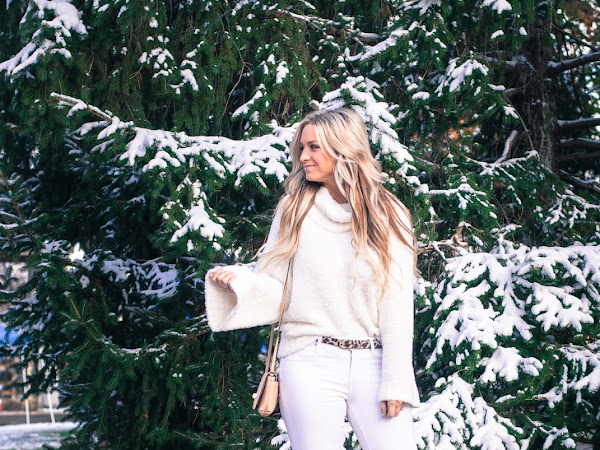 Winter White Fuzzy Sweater Outfit