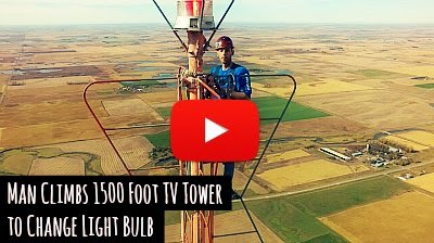 Watch daredevil Kevin Schmidt take on the terrifying climb of 1500 foot TV tower in South Dakota, to change the Flashing red light Bulb on top of the tower including a mid air selfie from a drone via geniushowto.blogspot.com incredible drone videos