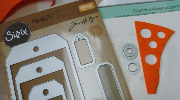 Tim Holtz Sizzix Framelits Tags cutting felt out
